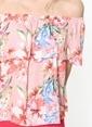Fashion Friends Kayık Yaka Çiçekli Bluz Pembe